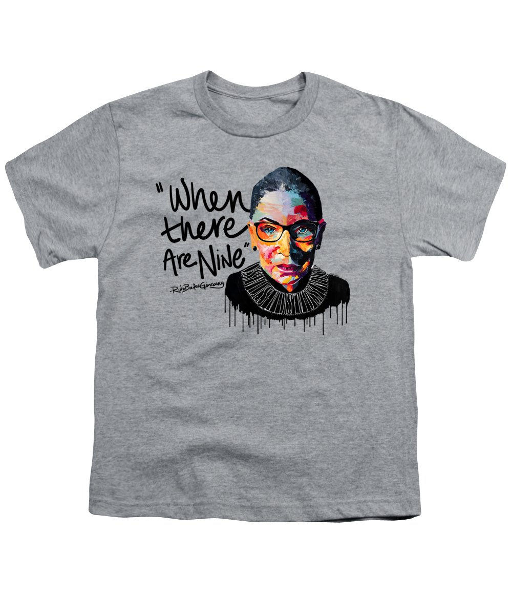Portrait Youth T-Shirt featuring the painting Dissent - When There Are Nine by LA Smith