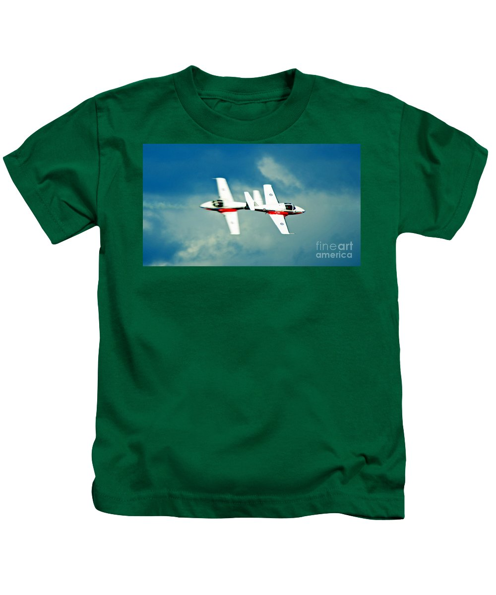 Airshow Kids T-Shirt featuring the photograph Crossing Paths by Anita Braconnier