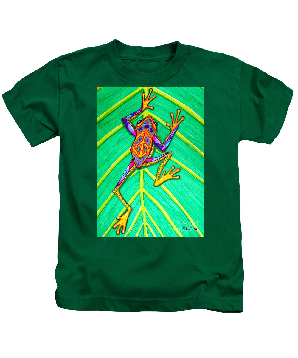 Frog Kids T-Shirt featuring the mixed media Peace Frog by Nick Gustafson
