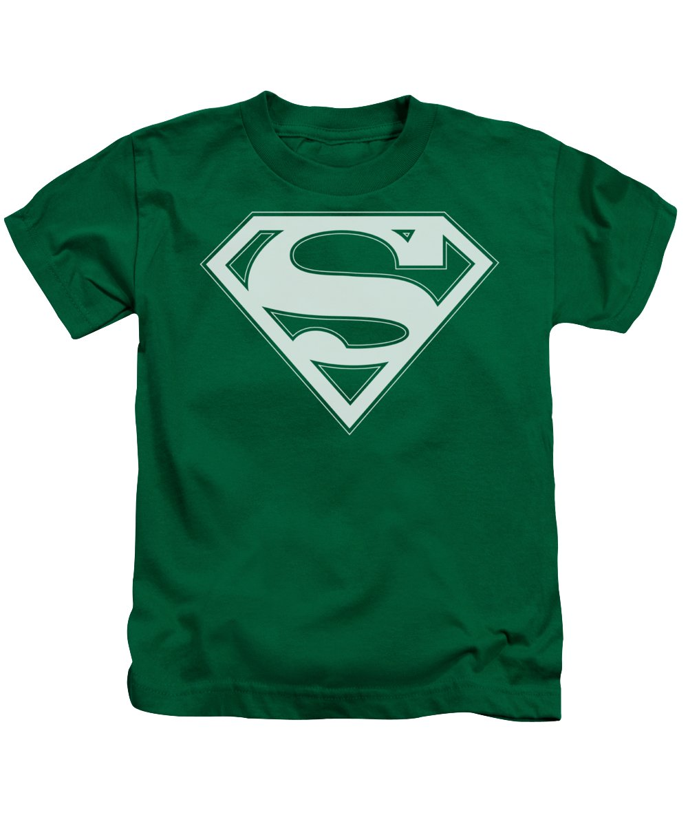 Superman Kids T-Shirt featuring the digital art Superman - Green And White Shield by Brand A