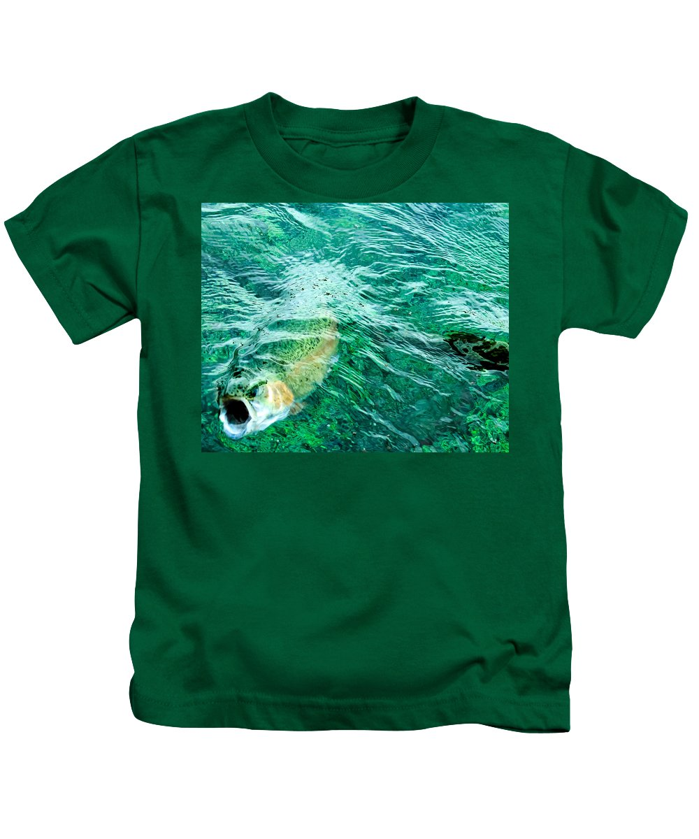 Rainbow Trout Kids T-Shirt featuring the photograph Catching Flies by John Lee