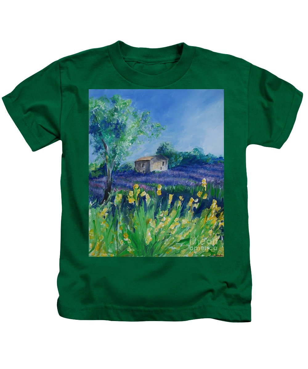 Provence Kids T-Shirt featuring the painting Provence Lavender Field by Eric Schiabor