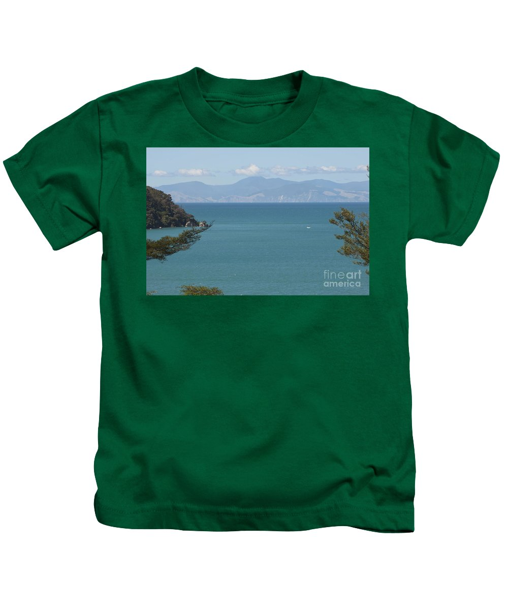 Abel Tasman Split Apple Rock Bay In New Zealand. Ocean Kids T-Shirt featuring the photograph Abel Tasman Split Apple Bay New Zealand by Loriannah Hespe
