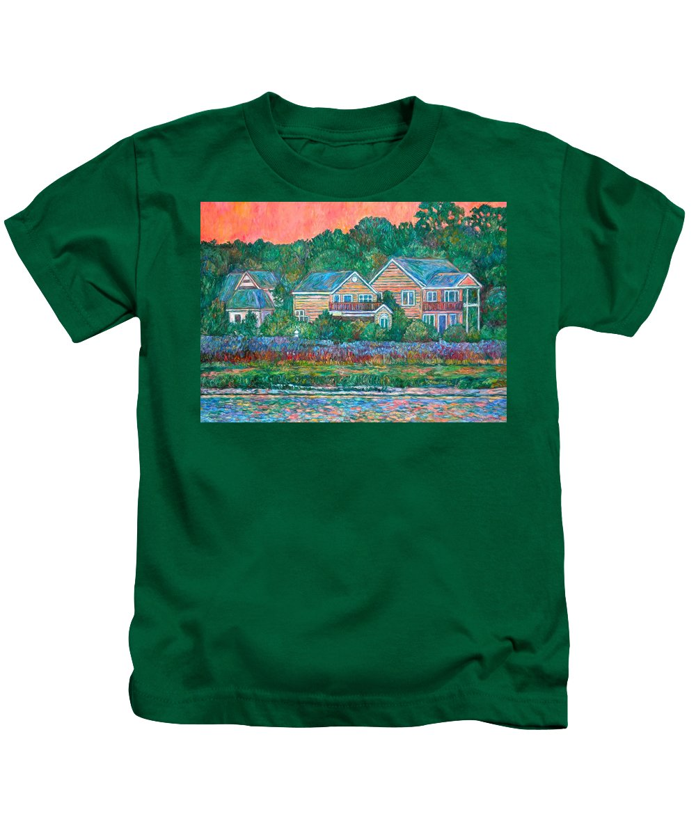 Landscape Kids T-Shirt featuring the painting Across The Marsh At Pawleys Island    by Kendall Kessler