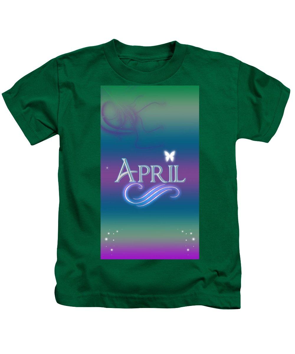 Abby Kids T-Shirt featuring the digital art April Name Art by Becca Buecher