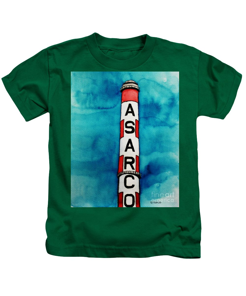 Asarco Kids T-Shirt featuring the painting Asarco In Watercolor by Melinda Etzold