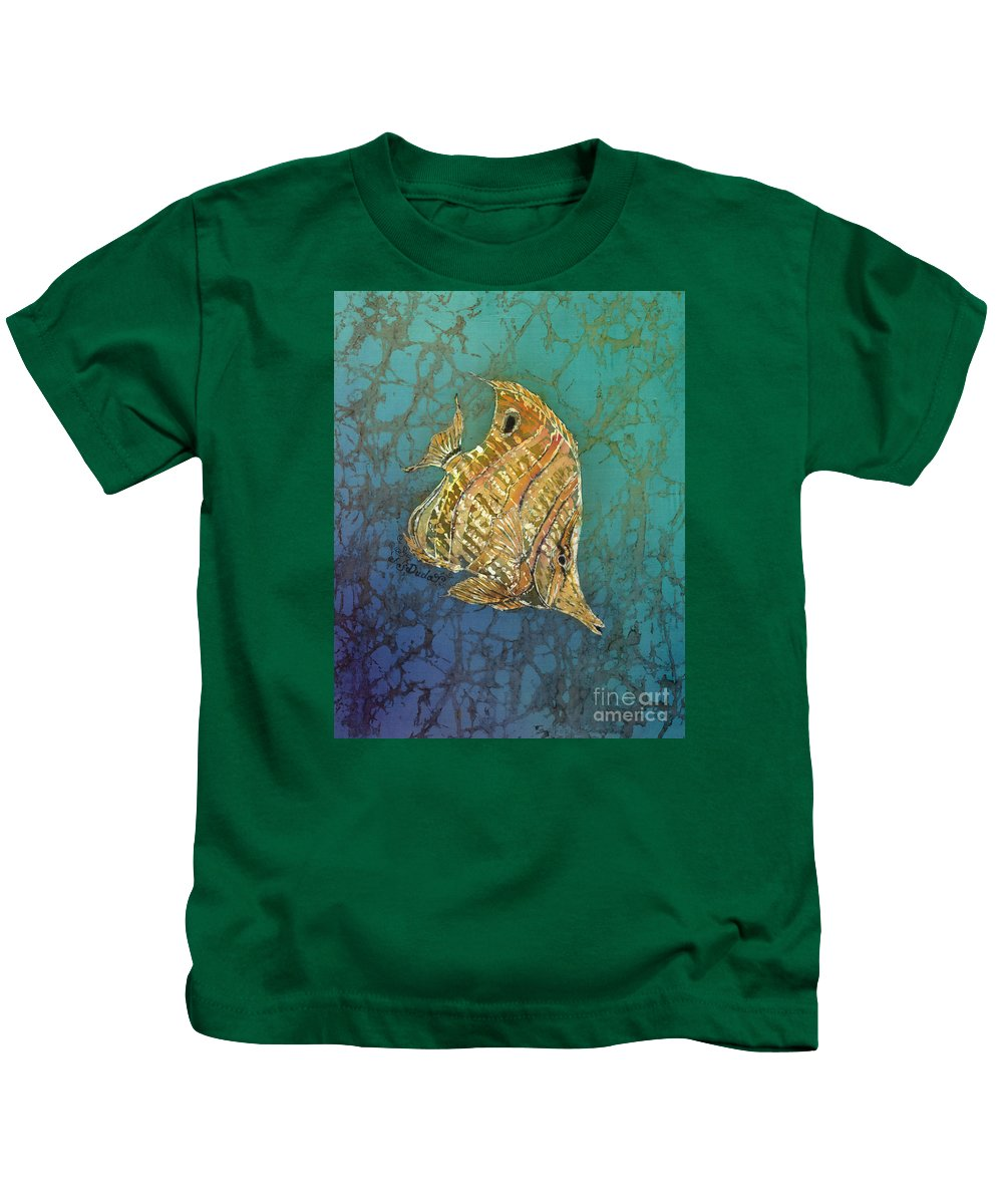 Fish Kids T-Shirt featuring the painting Beaked Butterflyfish by Sue Duda
