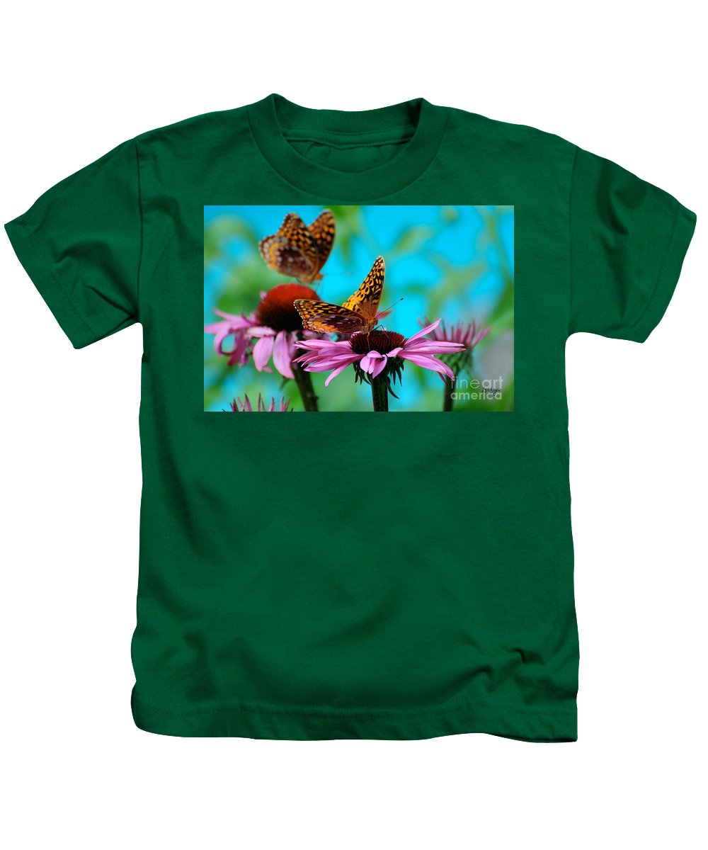 Butterfly Kids T-Shirt featuring the photograph Bff Best Friend Flutterbyes by Lois Bryan