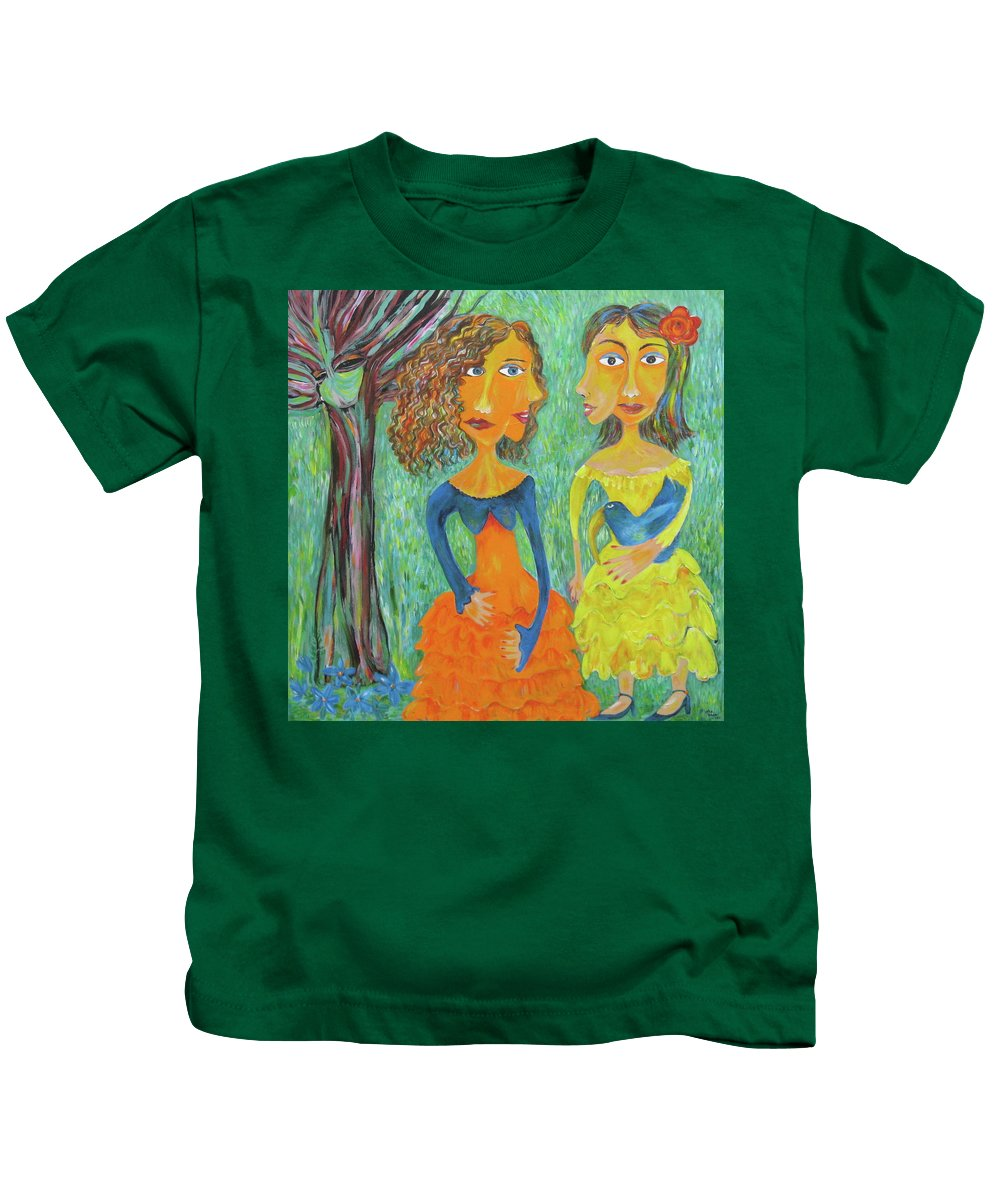 Woman Kids T-Shirt featuring the painting Bird In The Hand... by Sue Wright