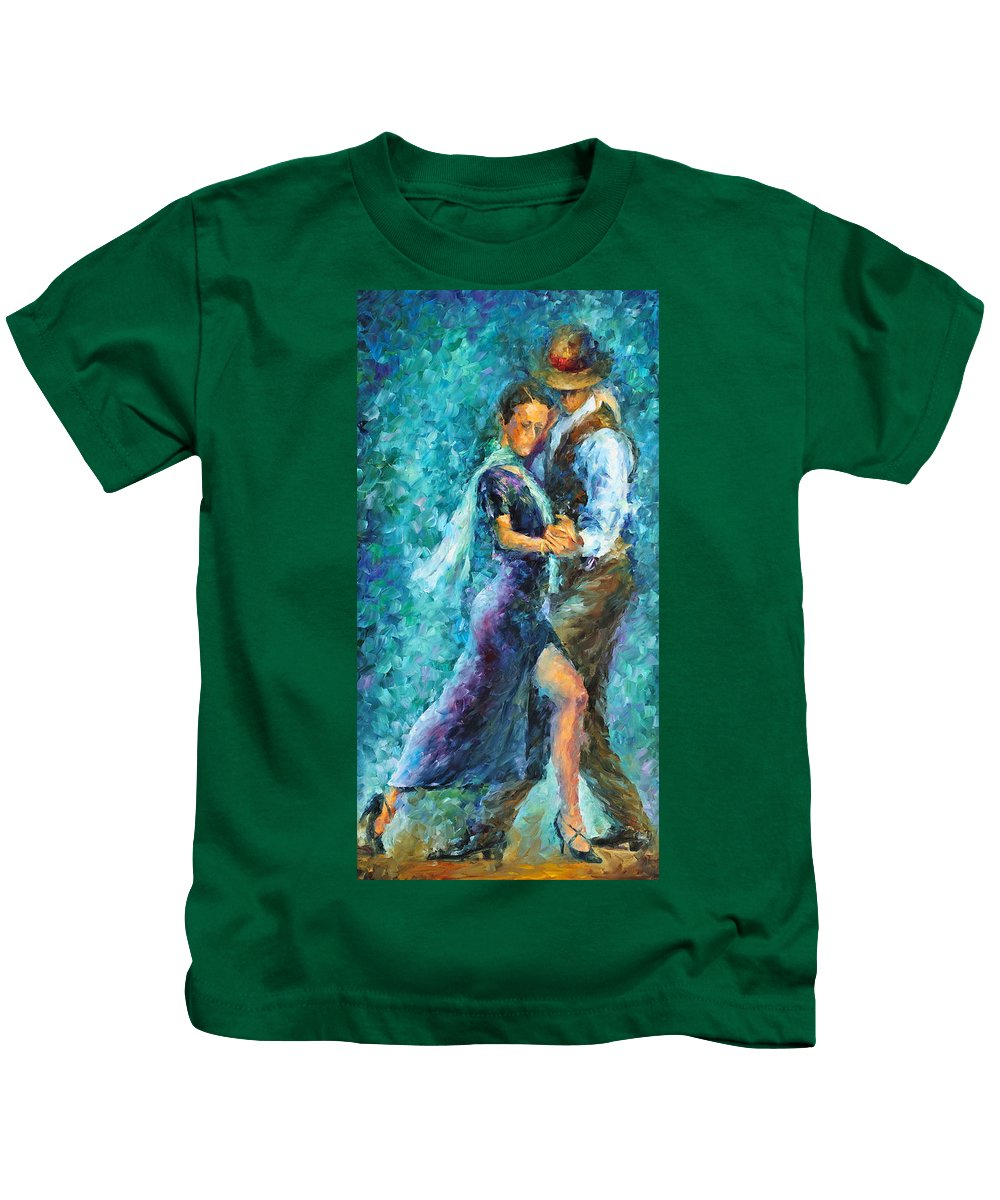 Afremov Kids T-Shirt featuring the painting Blue Tango 3 by Leonid Afremov