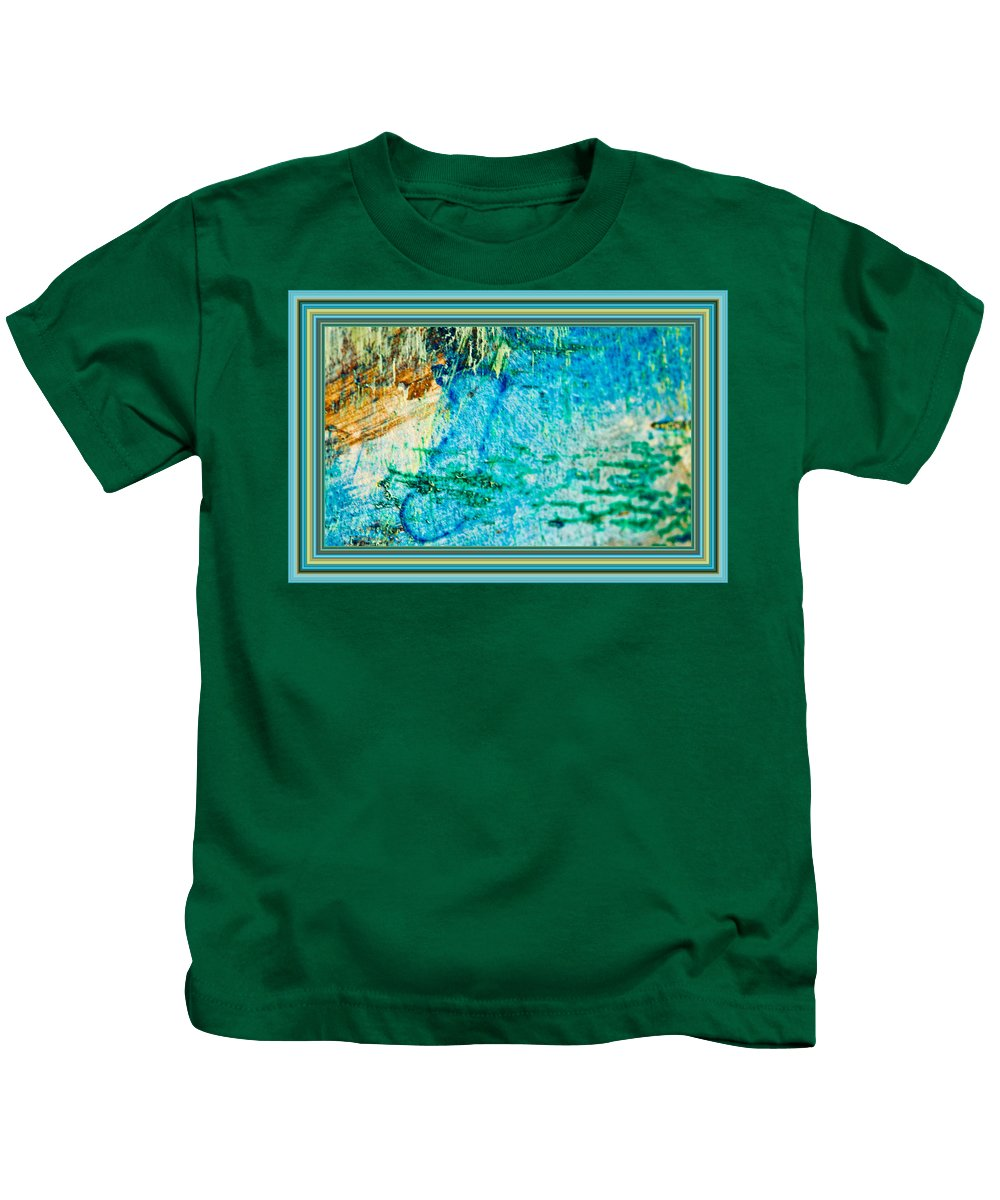 Borderized Abstract Ocean Painting Kids T-Shirt featuring the painting Borderized Abstract Ocean Print by Marie Jamieson