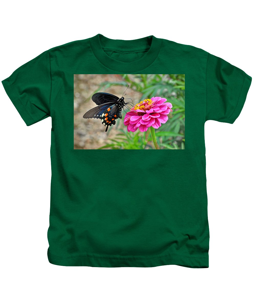Butterfly On Flower Kids T-Shirt featuring the photograph Butterfly On Flower by Savannah Gibbs