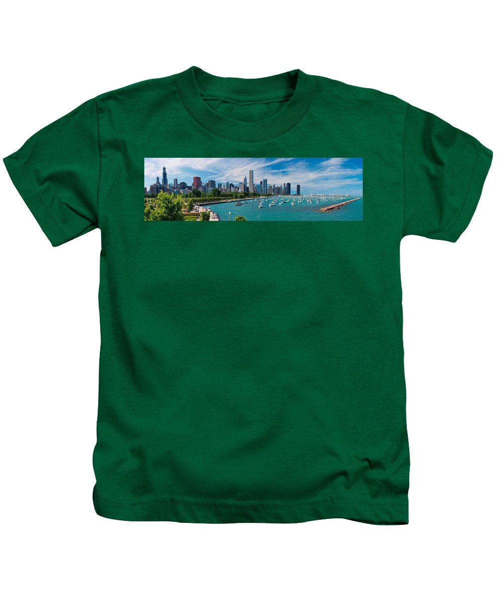 3scape Kids T-Shirt featuring the photograph Chicago Skyline Daytime Panoramic by Adam Romanowicz