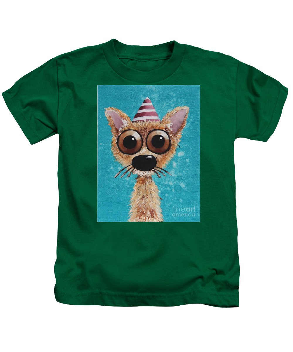 Whimsical Kids T-Shirt featuring the painting Dogitude by Lucia Stewart