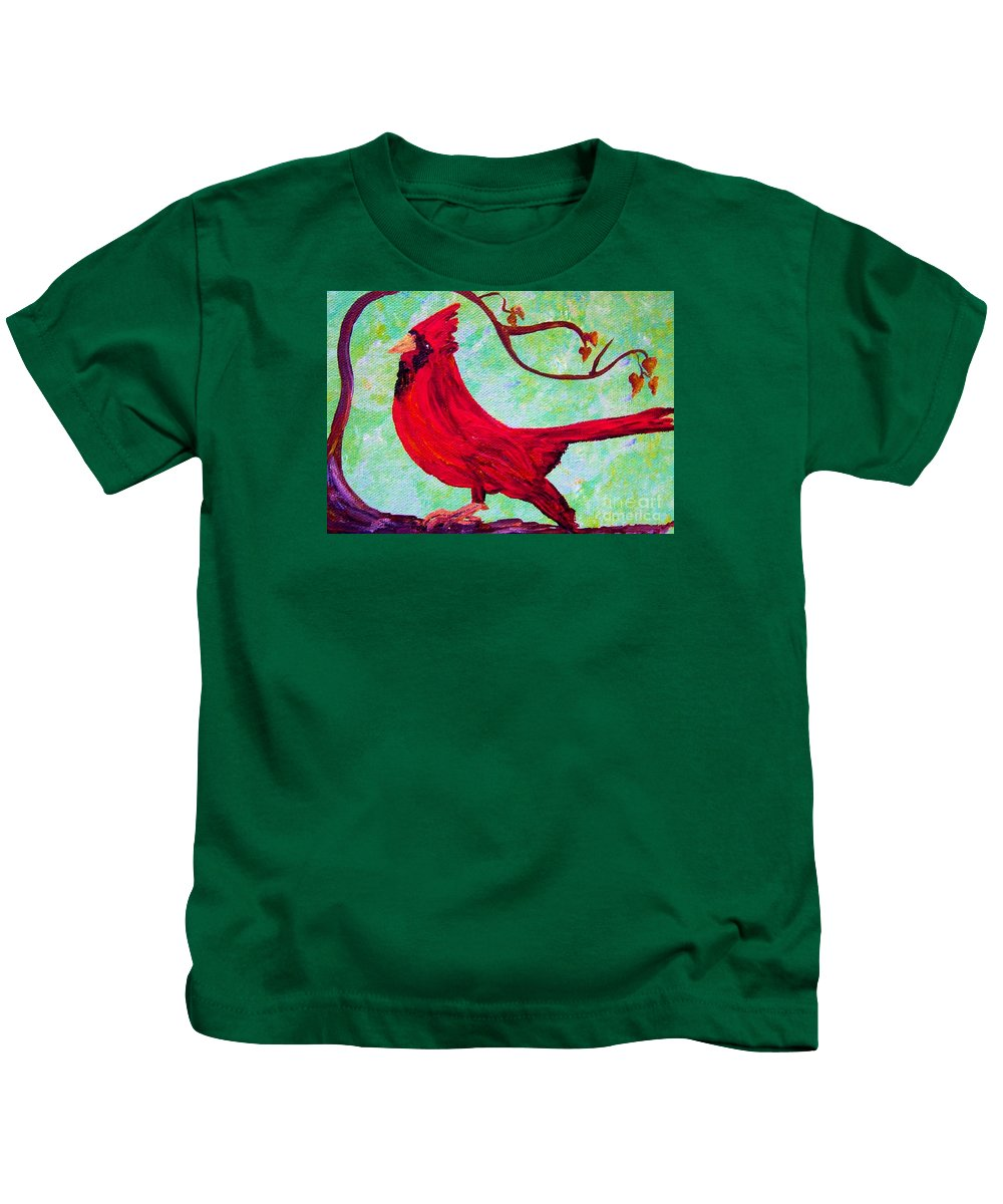 Bird Kids T-Shirt featuring the painting Festive Cardinal by Eloise Schneider Mote