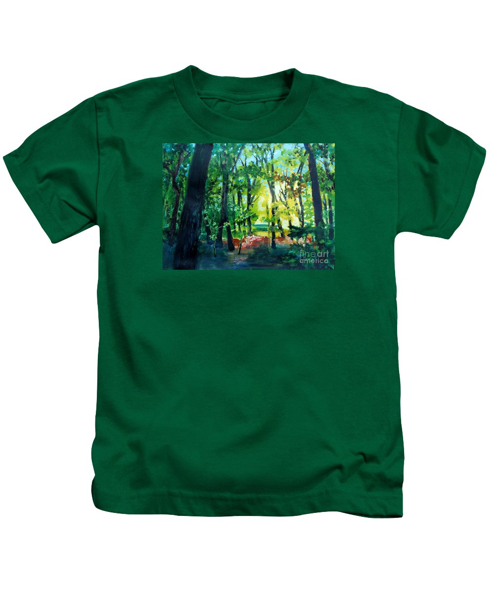 Painting Kids T-Shirt featuring the painting Forest Scene 1 by Kathy Braud