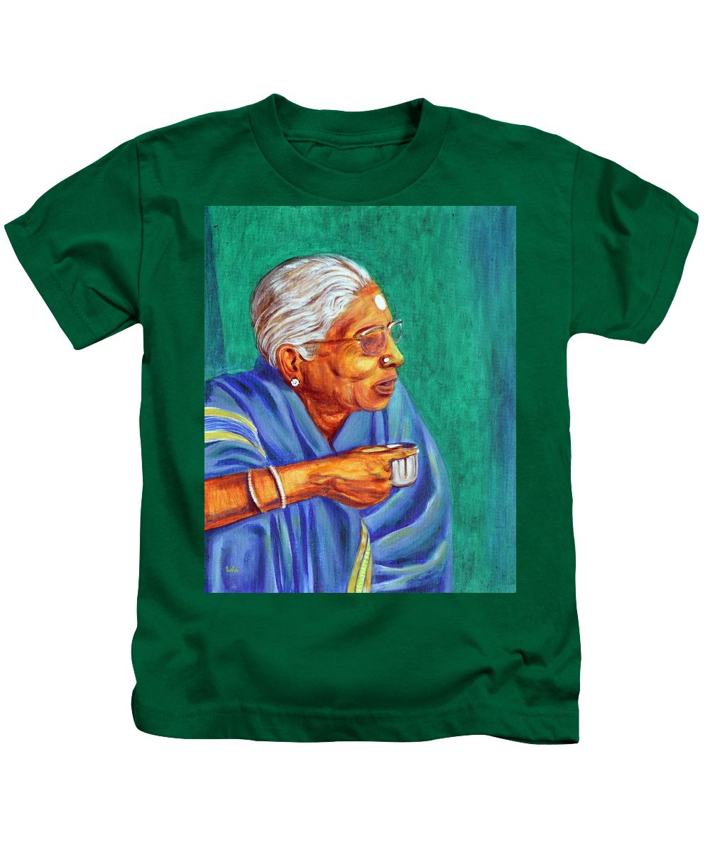 Usha Kids T-Shirt featuring the painting Golden Age 2 by Usha Shantharam