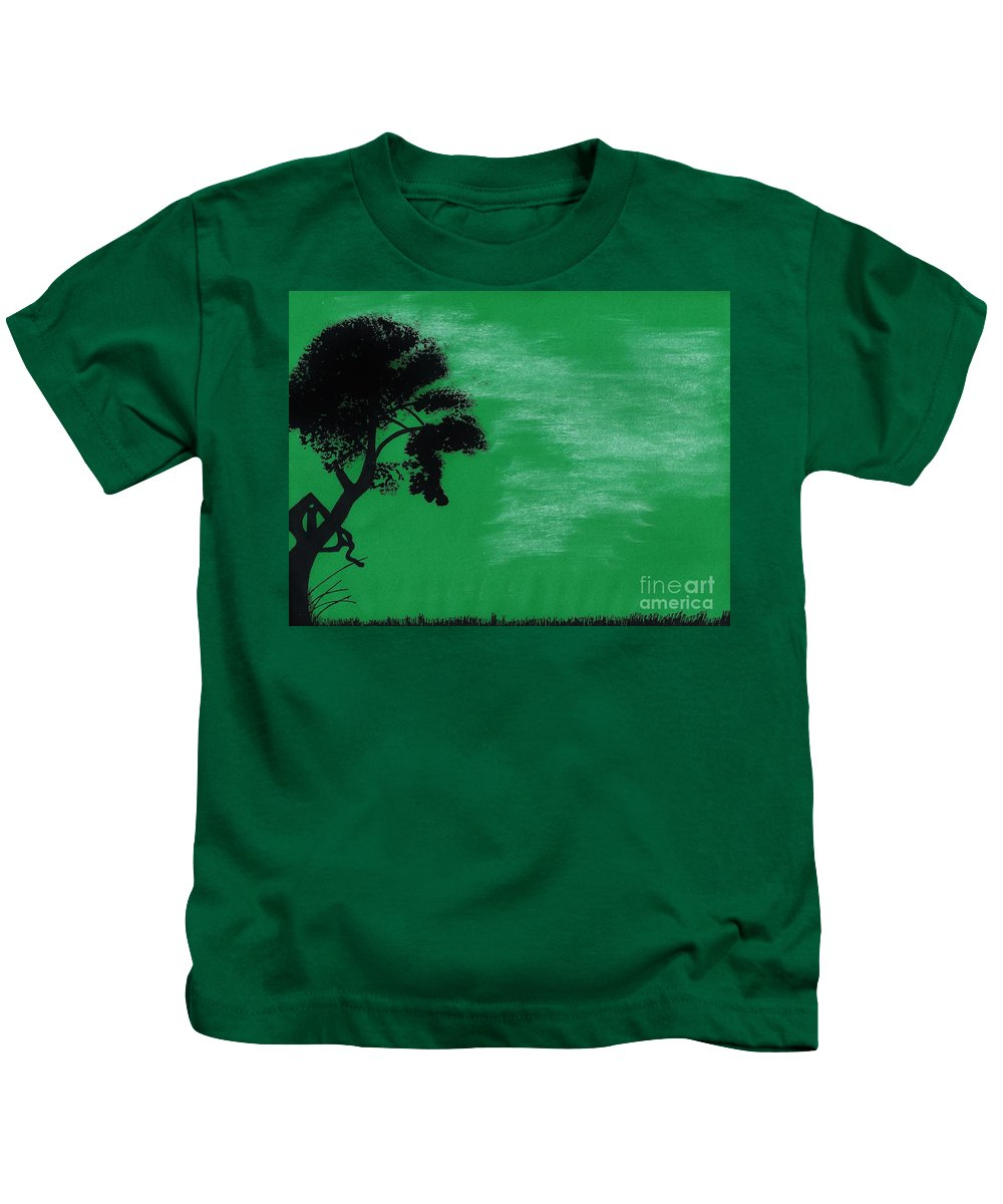 Tree Kids T-Shirt featuring the drawing Green Sky Sunset by D Hackett