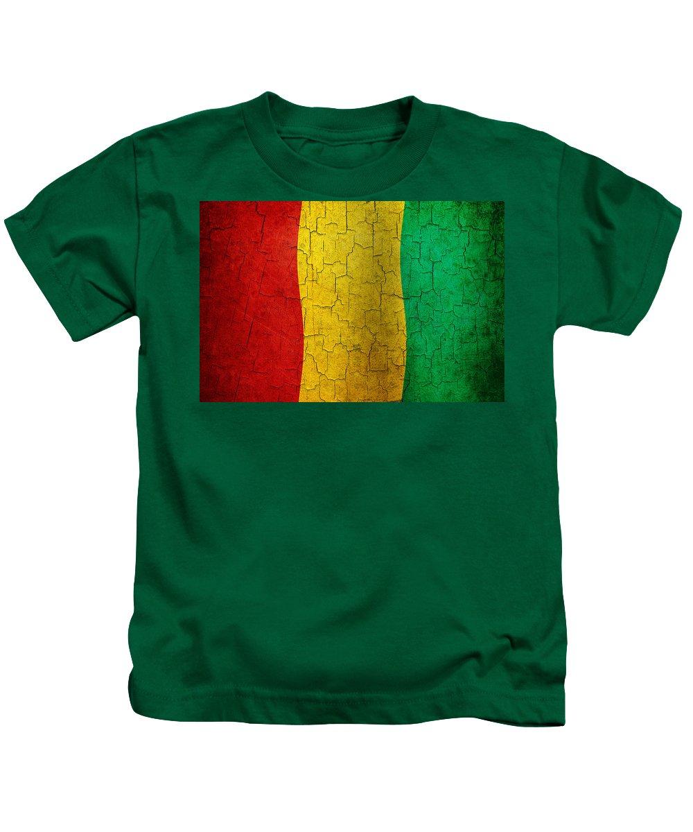 Aged Kids T-Shirt featuring the digital art Grunge Guinea Flag by Steve Ball