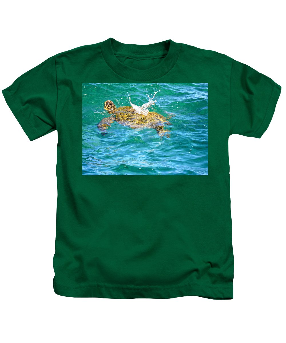 Hawaii Kids T-Shirt featuring the photograph Honu Hawaiian Green Sea Turtle by Lehua Pekelo-Stearns