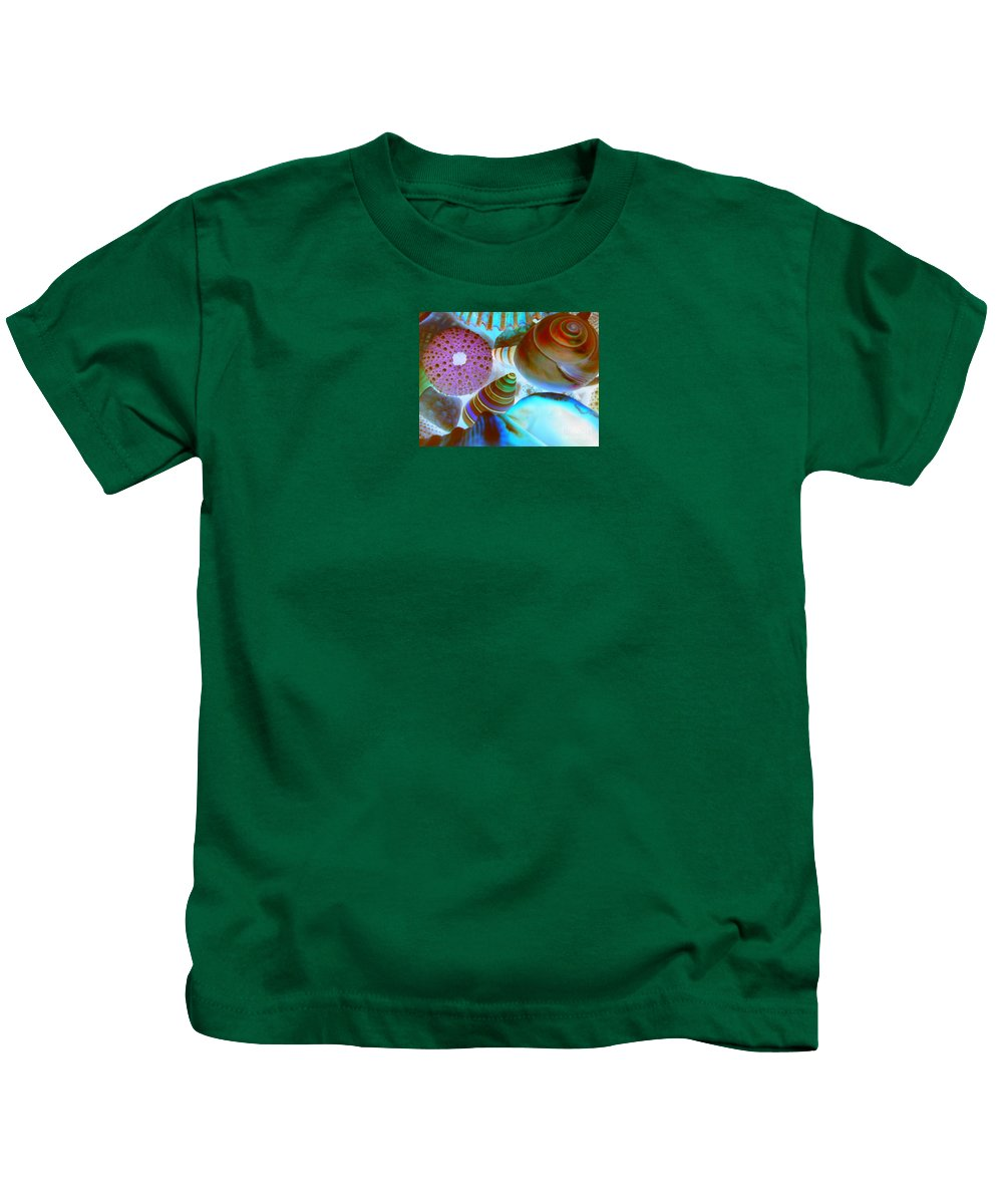 Seashells Kids T-Shirt featuring the photograph I Sell Seashells Down By The Seashore by Janice Westerberg