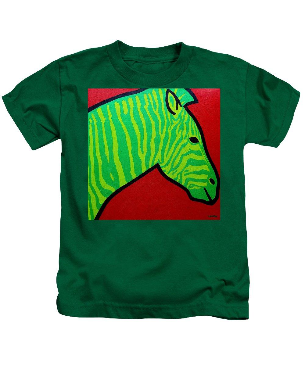 Irish Kids T-Shirt featuring the painting Irish Zebra by John Nolan