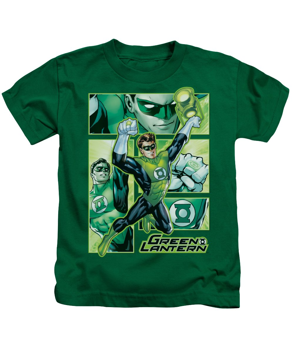Justice League Of America Kids T-Shirt featuring the digital art Jla - Green Lantern Panels by Brand A