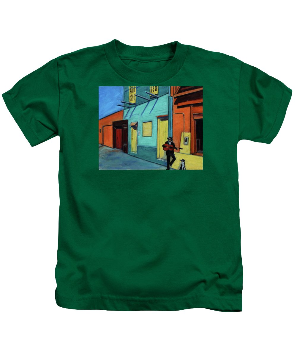 Landscape Kids T-Shirt featuring the painting La Boca Morning II by Xueling Zou