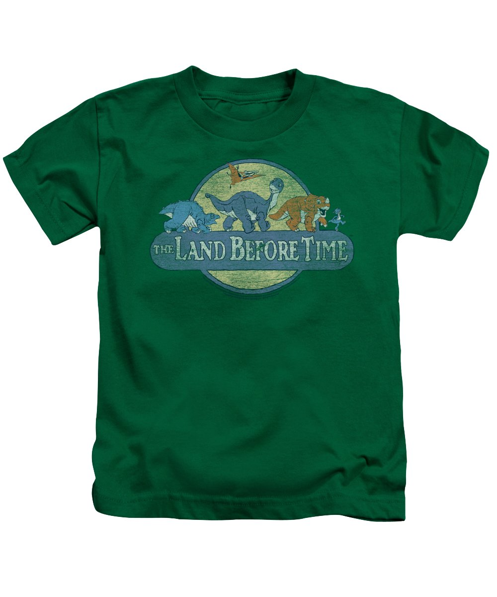 The Land Before Time Kids T-Shirt featuring the digital art Land Before Time - Retro Logo by Brand A