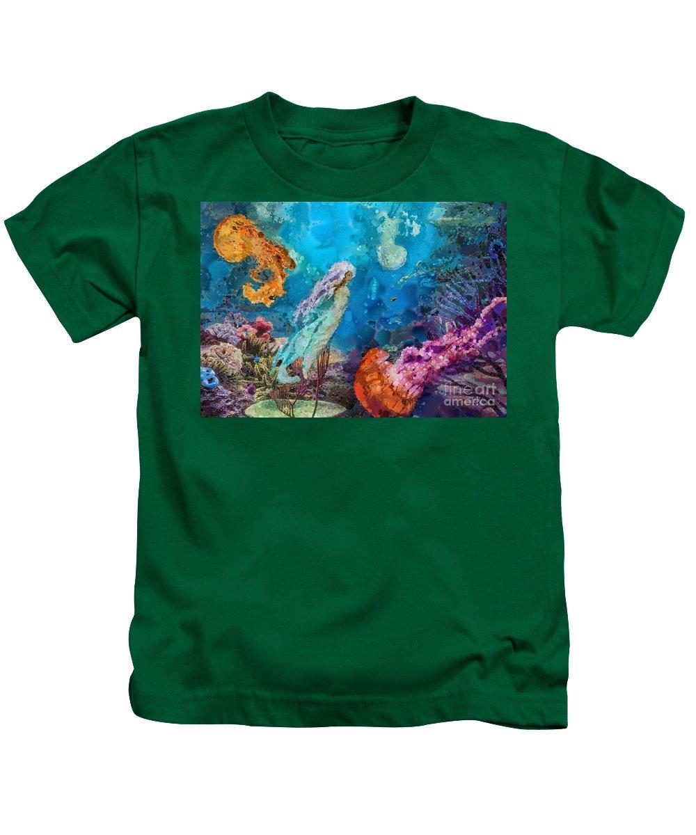 Medusa's Garden Kids T-Shirt featuring the painting Medusa's Garden by Mo T