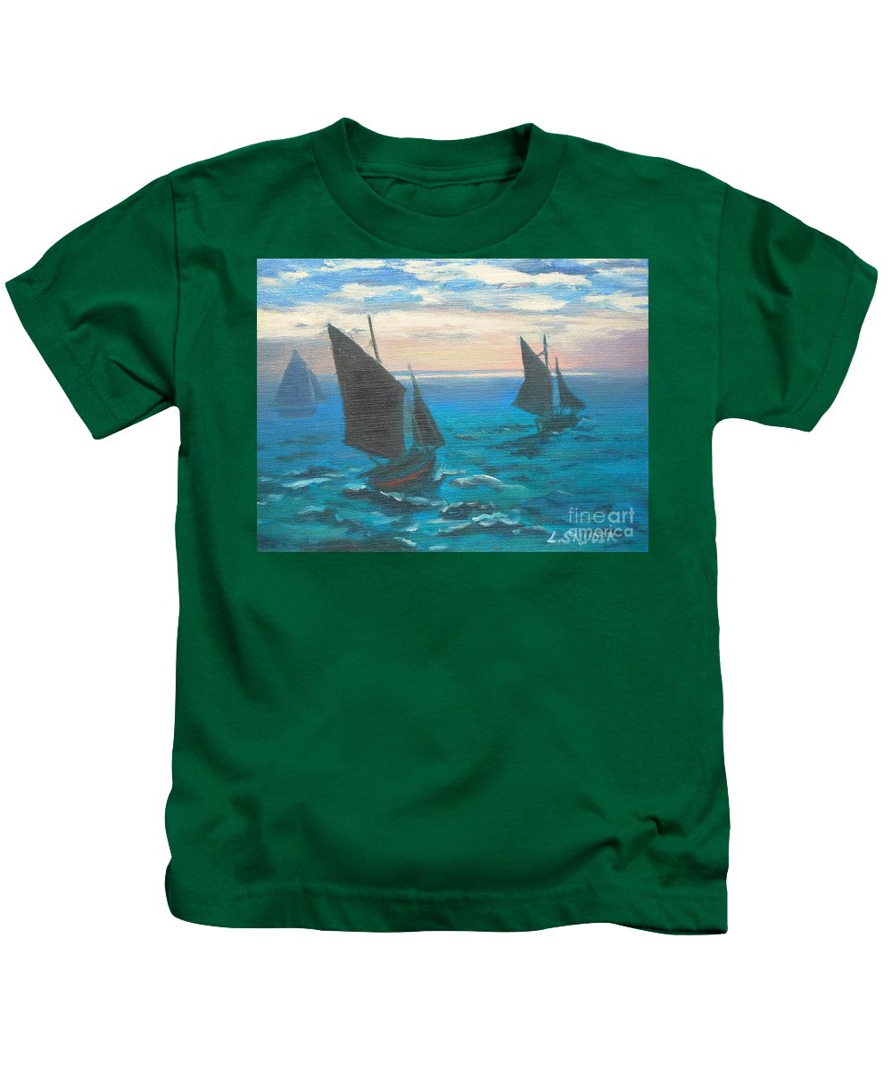 Claude Kids T-Shirt featuring the painting Monet's Boats Leaving The Harbor by Liz Snyder