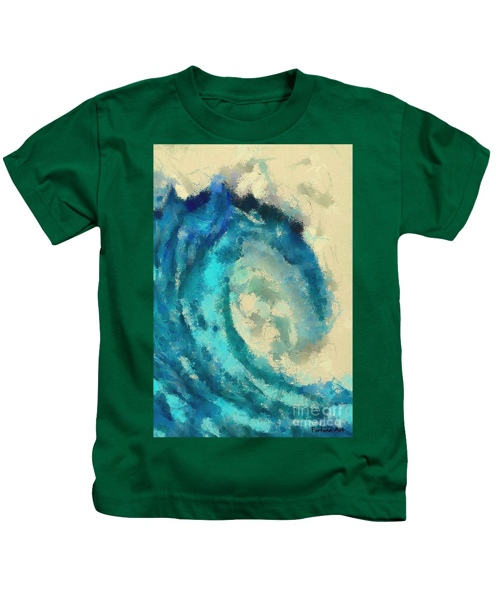 Landscape Kids T-Shirt featuring the digital art Morning Wave by Dragica Micki Fortuna