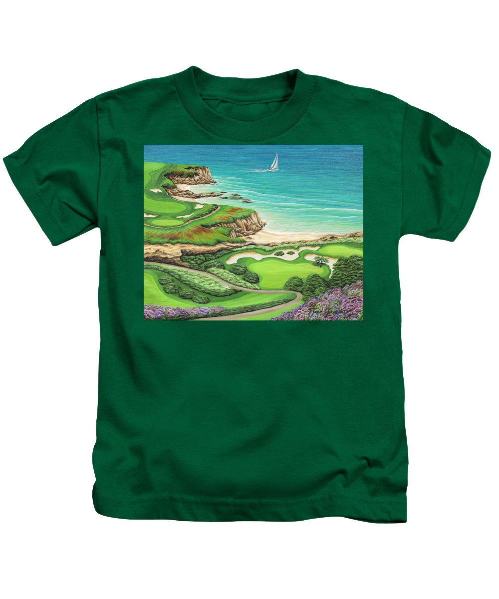 Ocean Kids T-Shirt featuring the painting Newport Coast by Jane Girardot