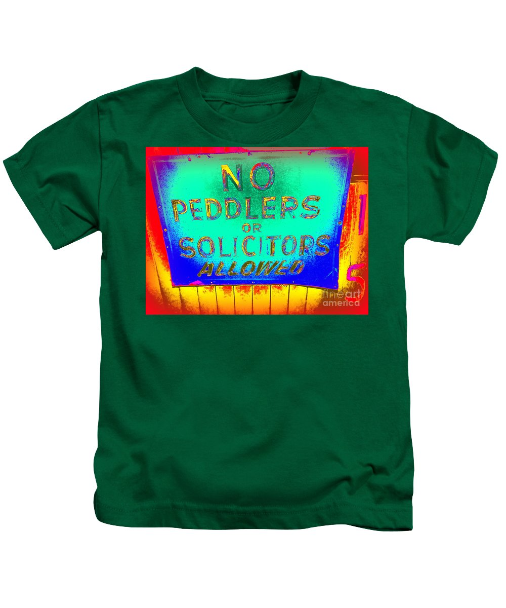 Pop Art Kids T-Shirt featuring the photograph No Peddlers Or Solicitors by Ed Weidman
