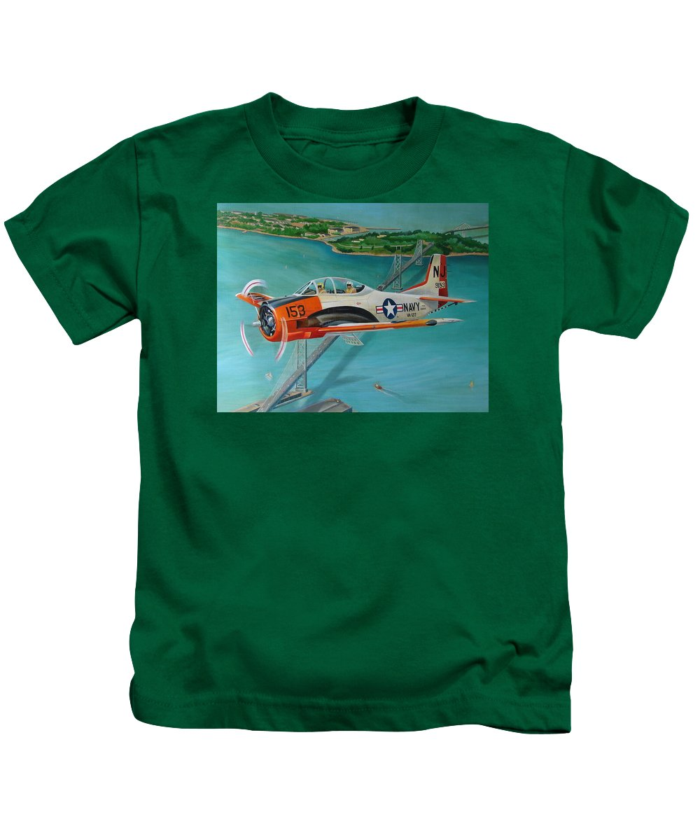 Aviation Kids T-Shirt featuring the painting North American T-28 Trainer by Stuart Swartz