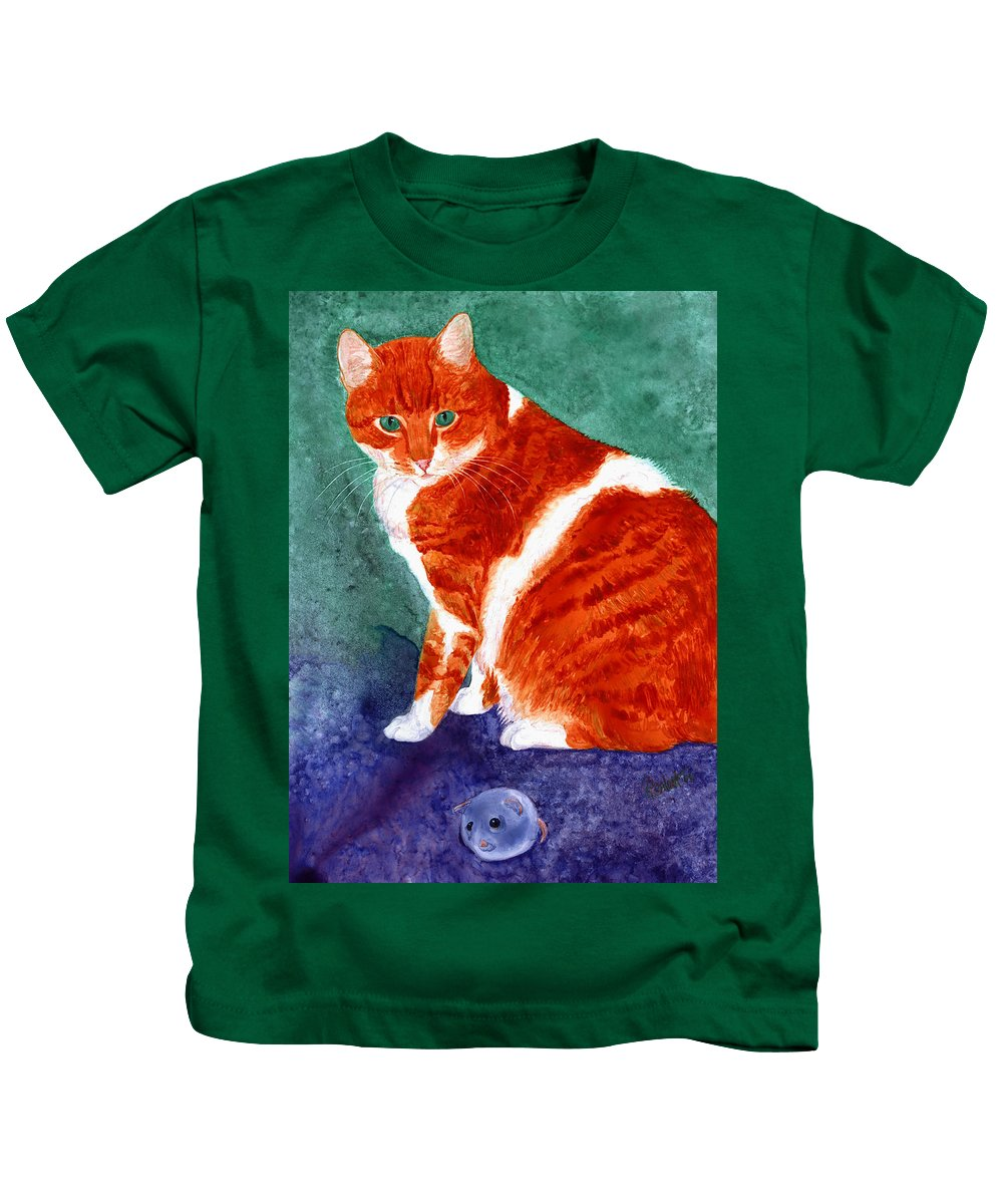 Cat Kids T-Shirt featuring the painting Oliver by Ann Ranlett