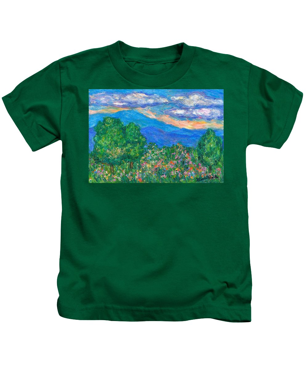 Kendall Kessler Mountains Kids T-Shirt featuring the painting Over The Edge by Kendall Kessler