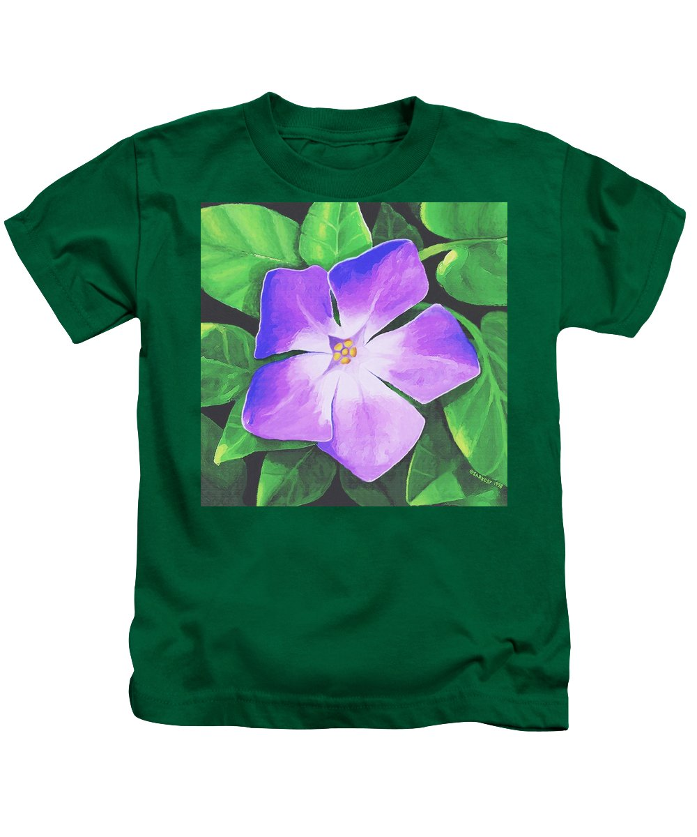Floral Kids T-Shirt featuring the painting Periwinkle by Sophia Schmierer