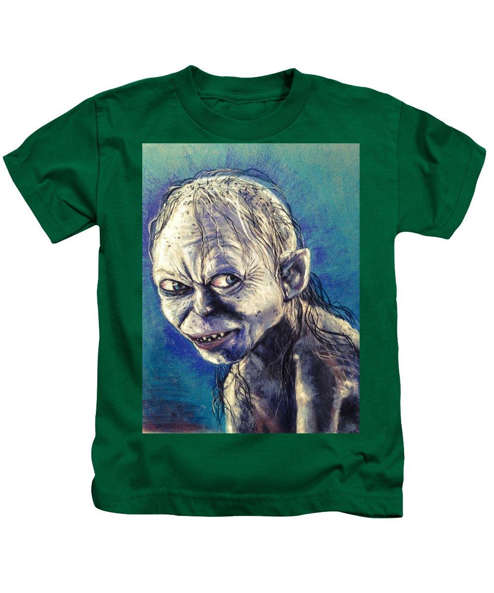 Gollum Kids T-Shirt featuring the pastel Portrait Of Gollum by Alban Dizdari