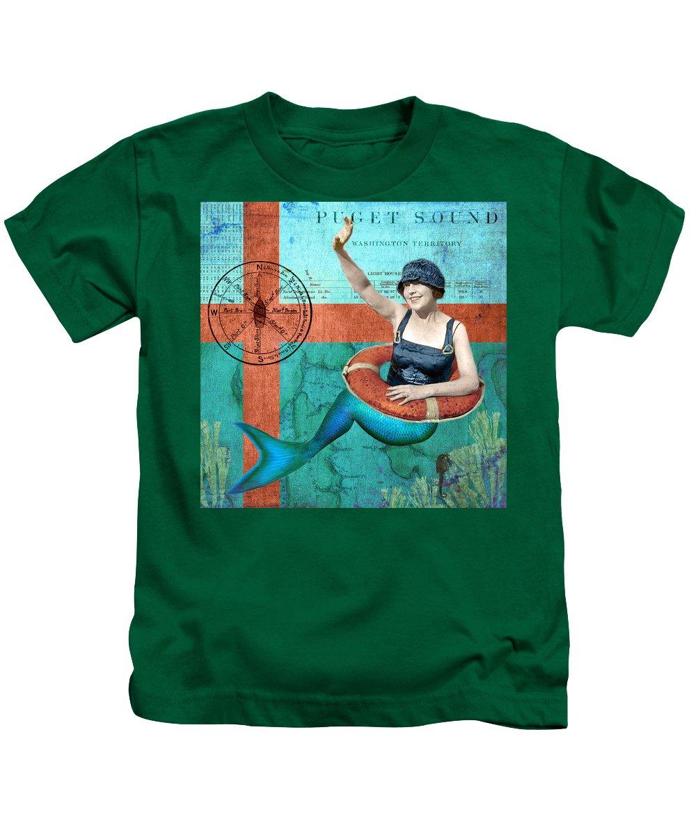 Sandy Lloyd Kids T-Shirt featuring the mixed media Puget Sound Mermaid by Sandy Lloyd