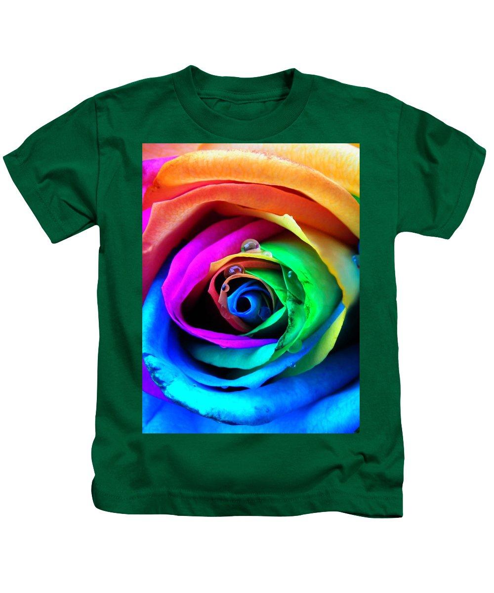 Rainbow Kids T-Shirt featuring the photograph Rainbow Rose by Juergen Weiss