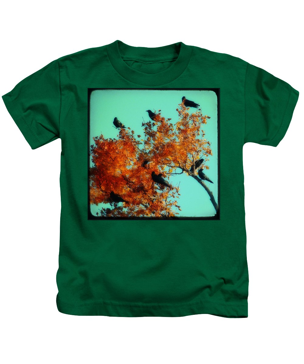 Red Leaves Kids T-Shirt featuring the photograph Red Leaves Among The Ravens by Gothicrow Images
