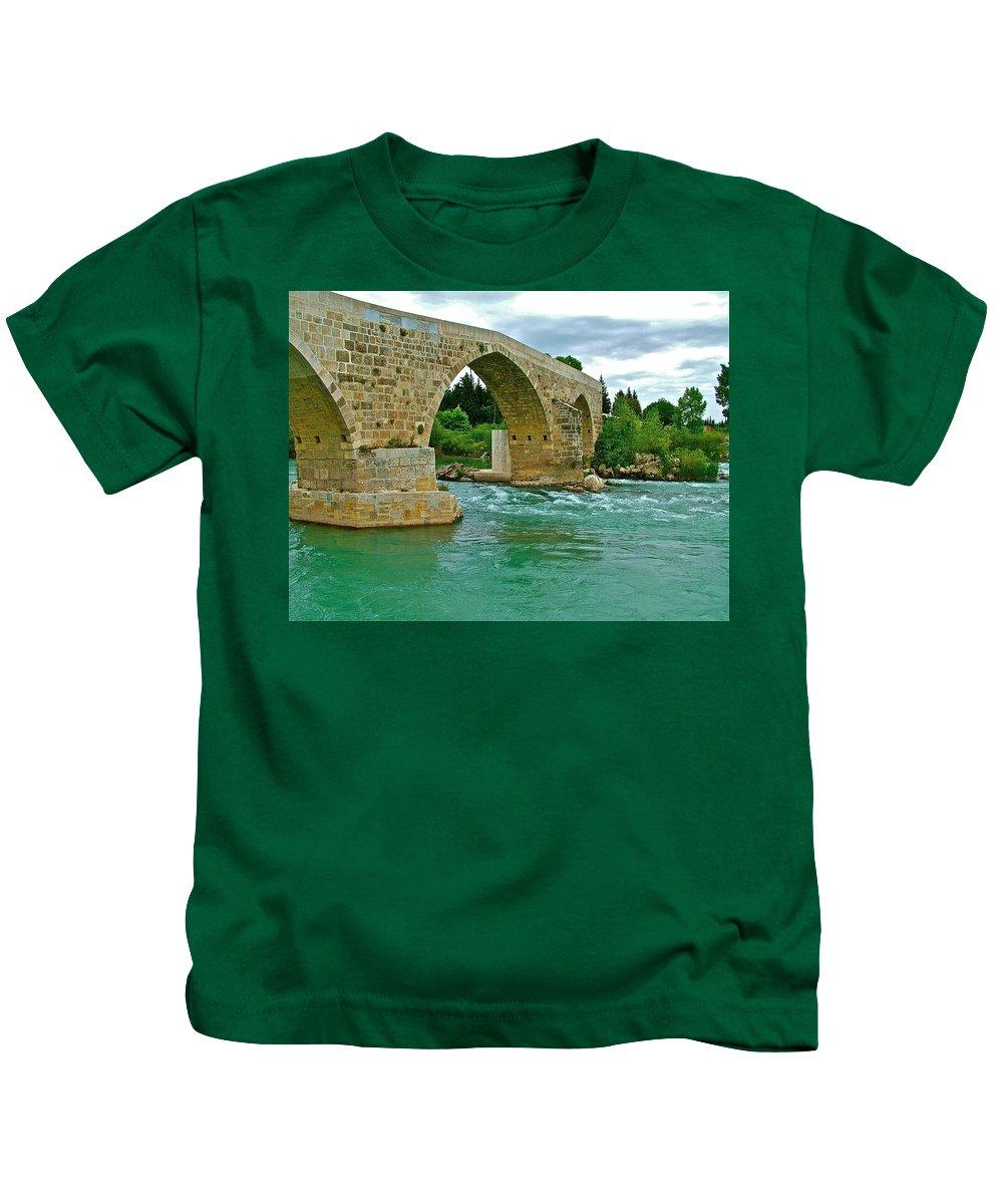 Restored Roman Bridge Over Eurynedan River Kids T-Shirt featuring the photograph Restored Roman Bridge Over Eurynedan River-turkey by Ruth Hager