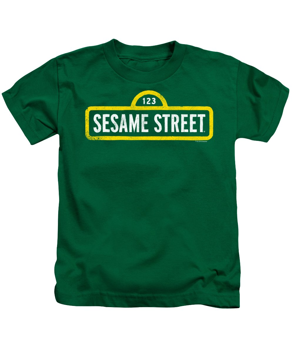 Kids T-Shirt featuring the digital art Sesame Street - Rough Logo by Brand A