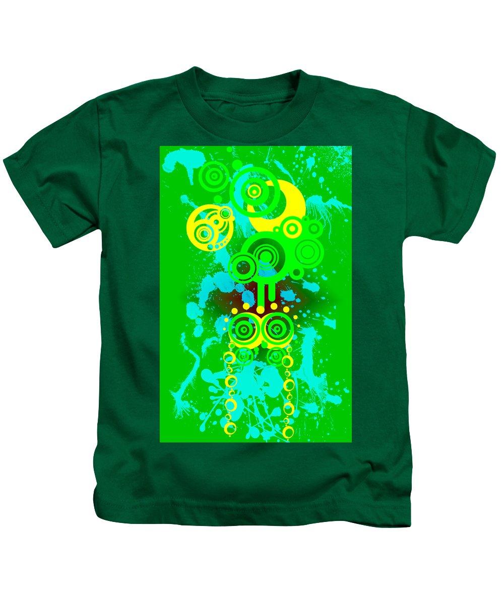 Green Kids T-Shirt featuring the digital art Splattered Series 3 by Teri Schuster