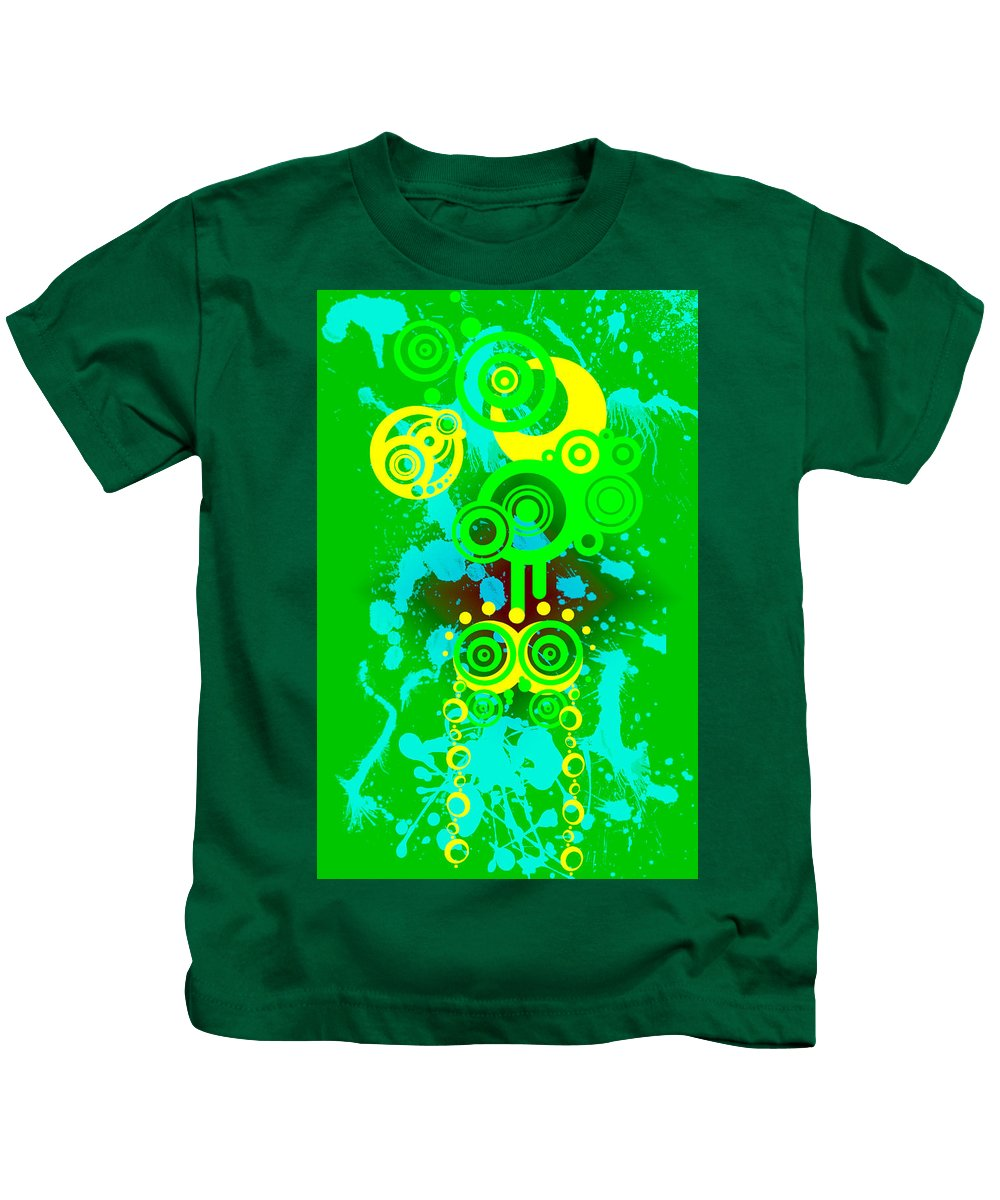 Yellow Kids T-Shirt featuring the digital art Splattered Series 7 by Teri Schuster