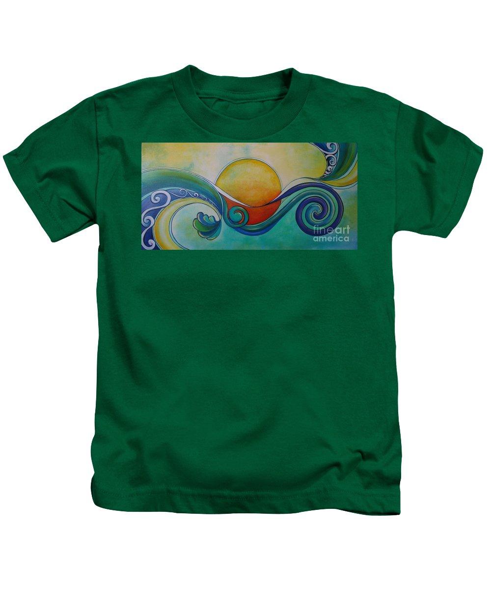 Reina Cottier Kids T-Shirt featuring the painting Surf Sun Spirit by Reina Cottier