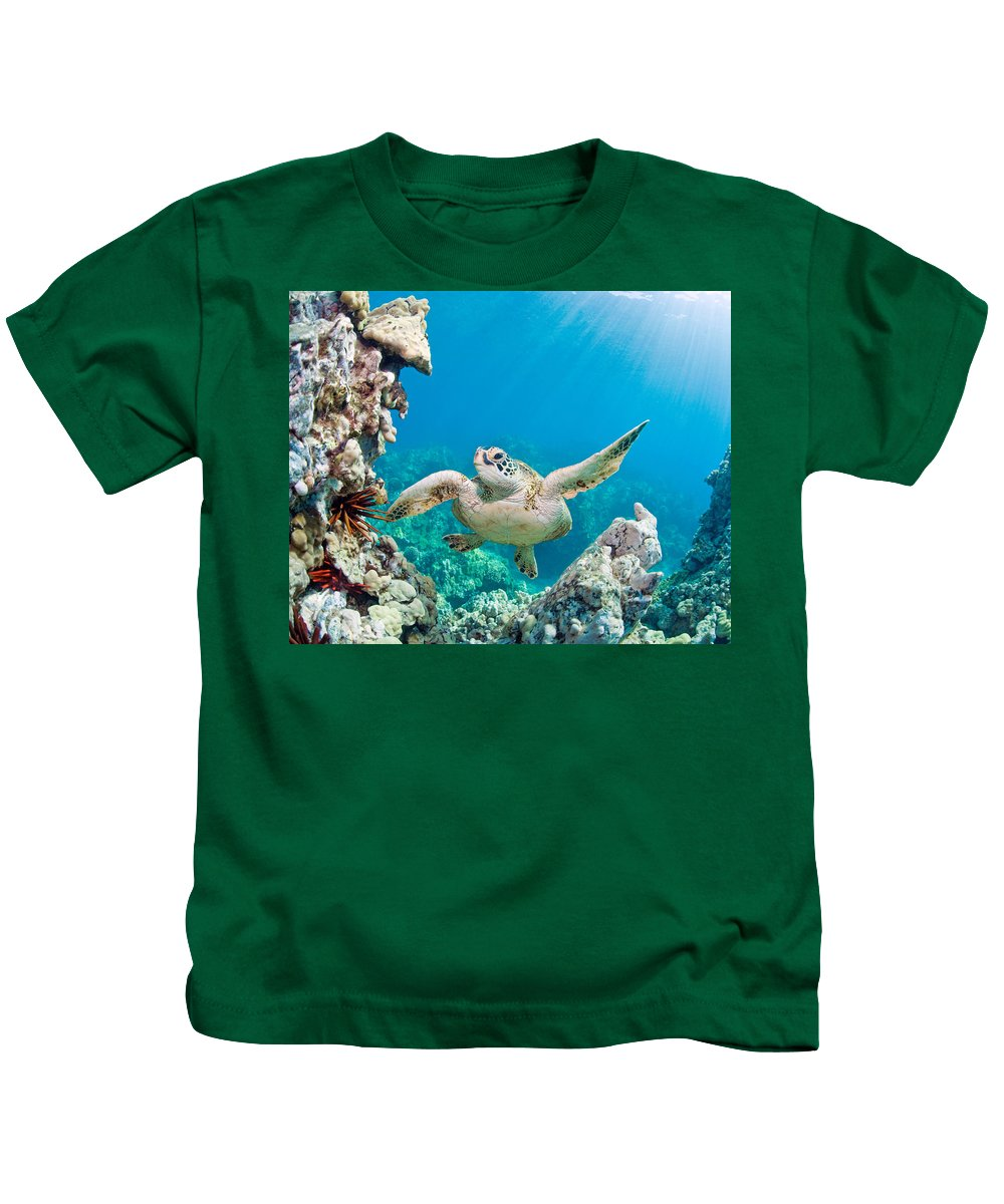 Beautiful Kids T-Shirt featuring the photograph Turtle In Tropical Ocean by M Swiet Productions