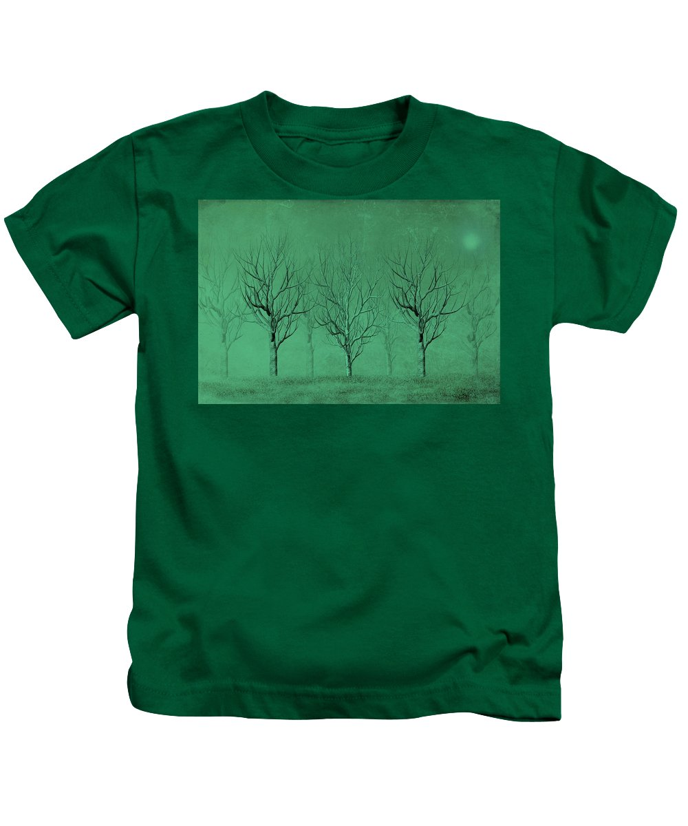 Trees Kids T-Shirt featuring the digital art Winter Trees In The Mist by David Dehner