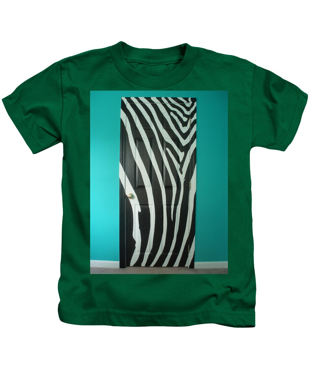 Design Kids T-Shirt featuring the painting Zebra Stripe Mural - Door Number 1 by Sean Connolly
